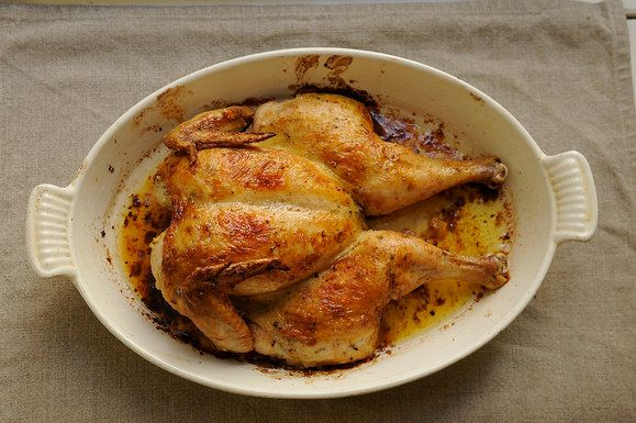 "<strong>Get the<a href=""http://food52.com/recipes/6245-spatchcocked-roast-chicken"" target=""_blank""> Spatchcocked Roast Chicke"