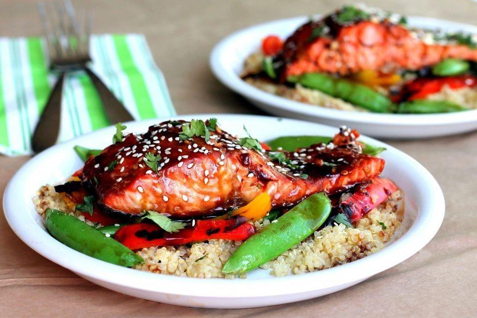 "<strong>Get the <a href=""http://www.ambitiouskitchen.com/2012/07/sesame-ginger-sweet-teriyaki-salmon-with-garlic-quinoa-stir-"