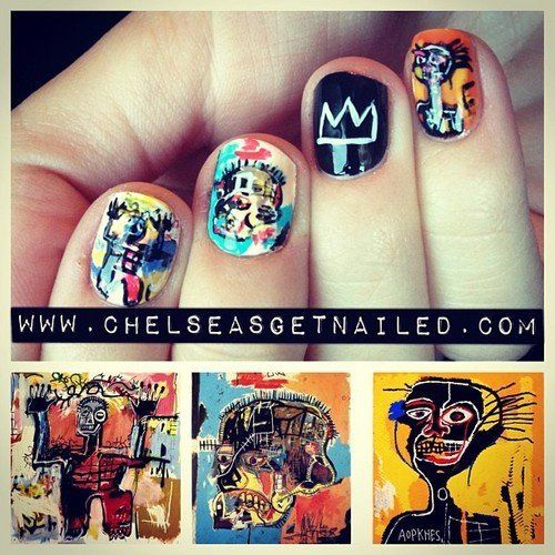 """""""One of my favorite things to do is to paint art on my nails, so I thought Jean-Michel Basquiat-inspired nails would be a fun"""