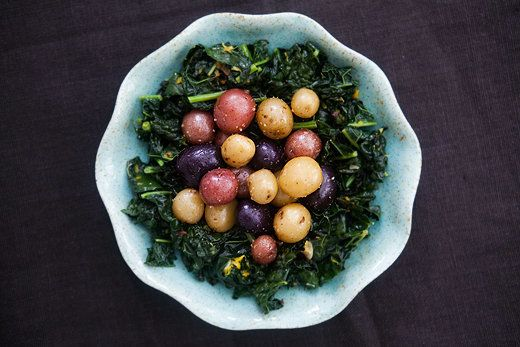 """<strong>Get the <a href=""""http://www.simplyrecipes.com/recipes/dinosaur_kale_with_baby_potatoes/"""">Dinosaur Kale with Baby Pota"""