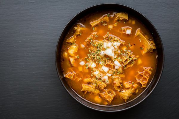 """<strong>Get the <a href=""""http://thedomesticman.com/2013/07/23/mexican-tripe-soup-pancitamenudo/"""" target=""""_blank"""">Mexican Trip"""