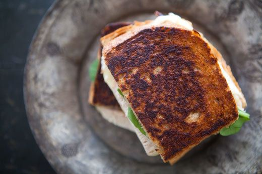 """<strong>Get the <a href=""""http://www.simplyrecipes.com/recipes/turkey_grilled_cheese_sandwich_with_pickled_onions/"""">Turkey Gri"""