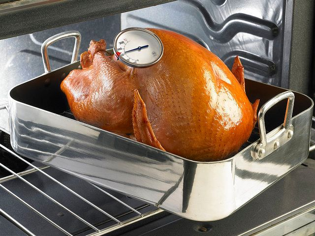 "The best way to know when your turkey is done, is by its temperature. The USDA says a turkey is safe when ""cooked to a minimu"