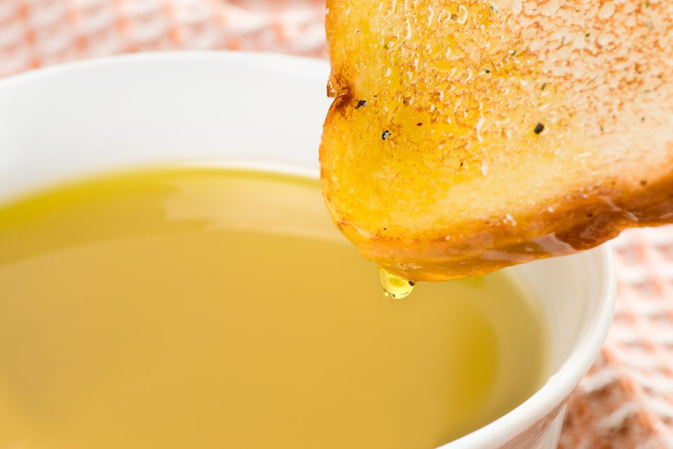 """You feel oh-so-virtuous dipping your bread in olive oil, but dunking can be a waistline wrecker. """"It's still all fat and it's"""