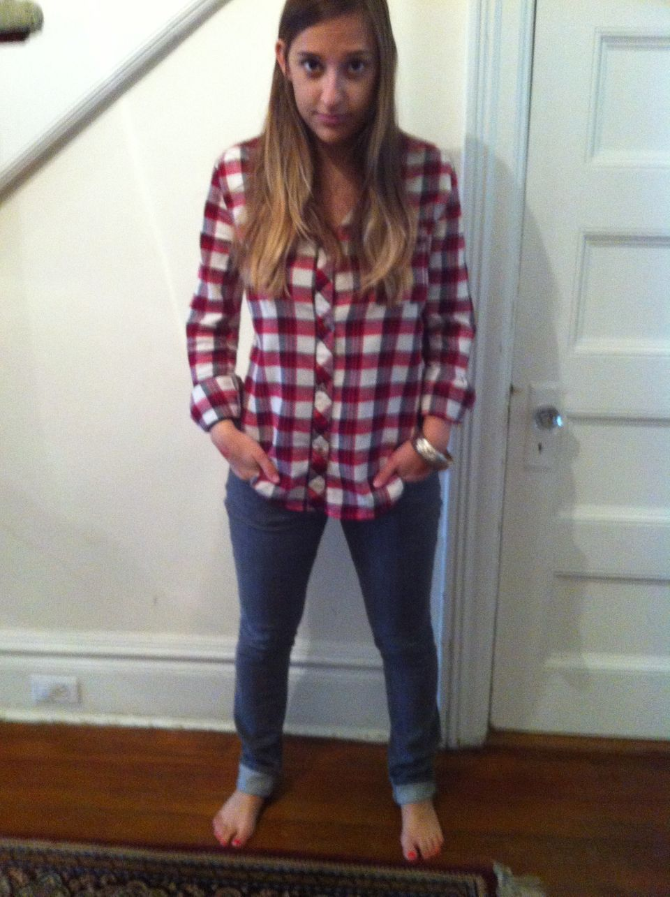 I'm wearing a variation of my basic uniform -- plaid, gray jeans and a bangle -- for Thanksgiving Day in Westchester, NY with
