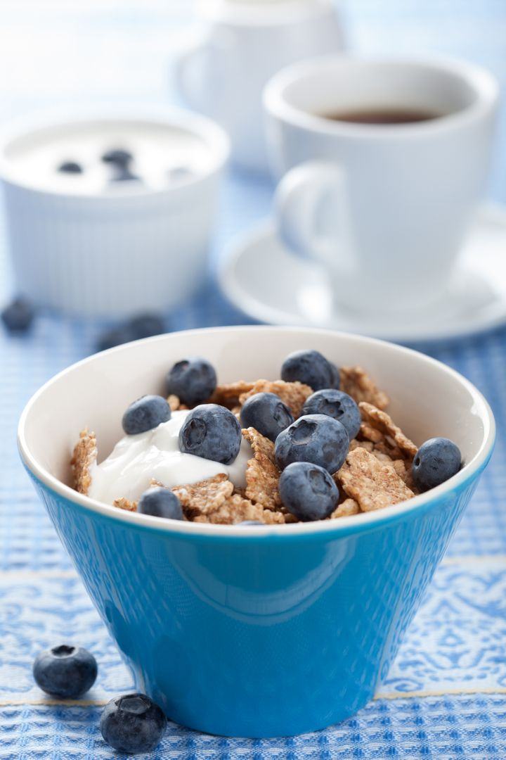 cornflakes with blueberry and...