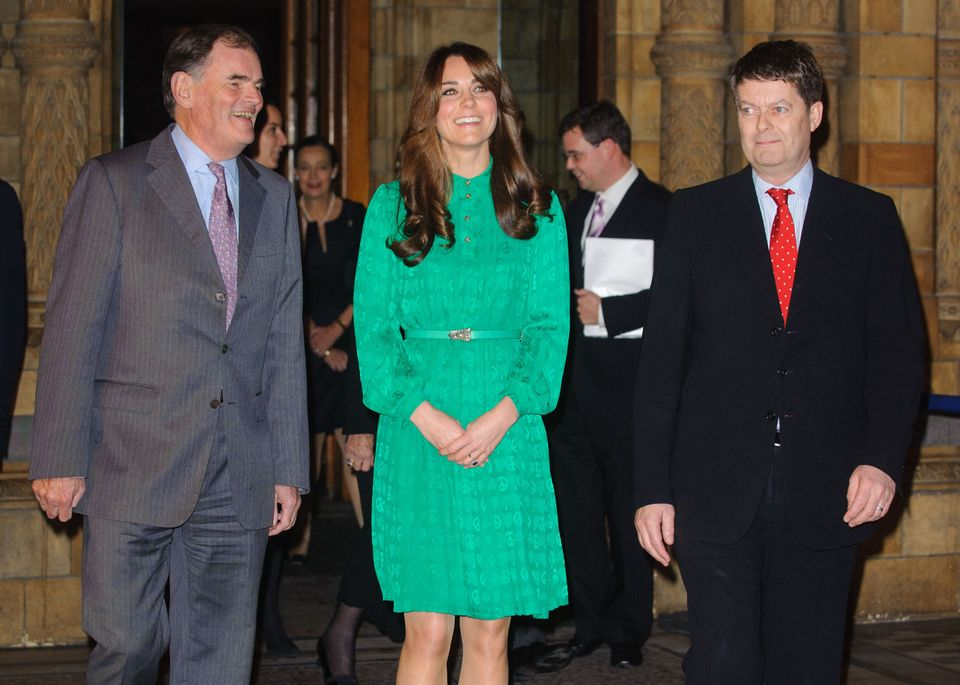 The Duchess of Cambridge with Chairman of Trustees Oliver Stocken (left) and Director of the Natural History Museum Doctor Mi