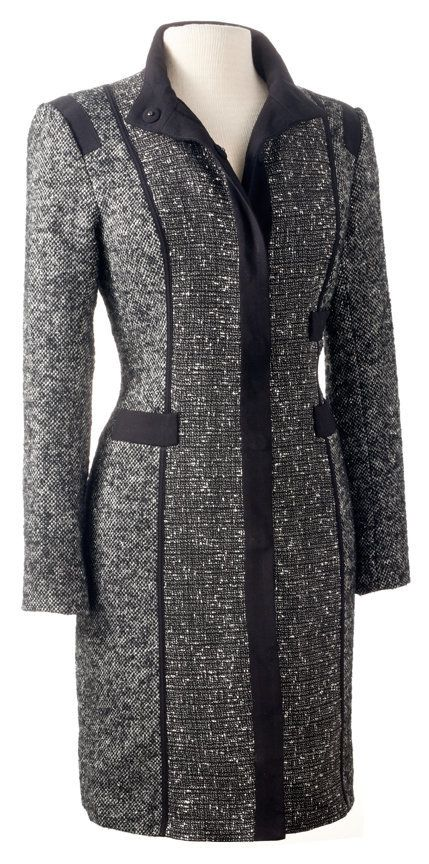 This tweed topper is anything but staid. The coat is from the designer's lower-priced collection, but it's just as stunning a