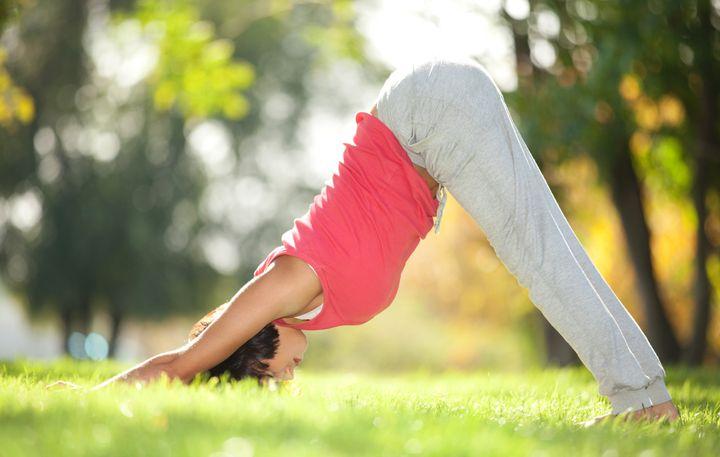pretty woman doing yoga...