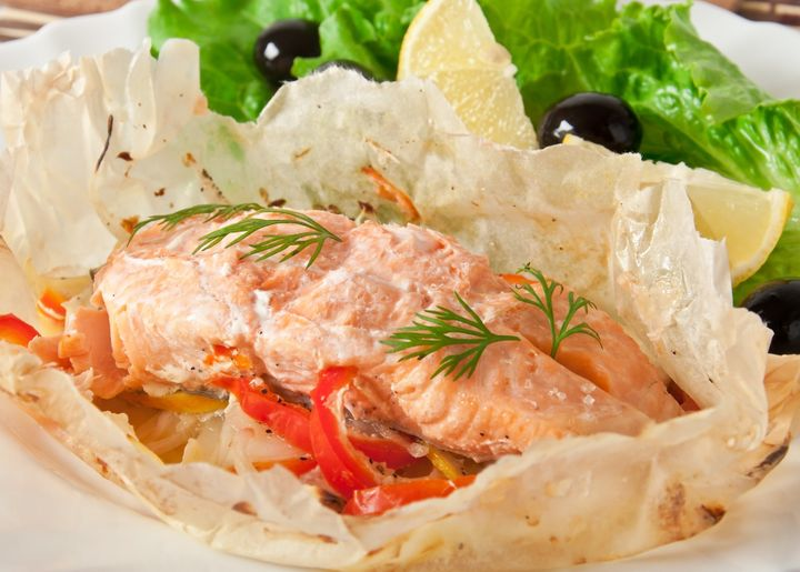 baked salmon with vegetables in ...
