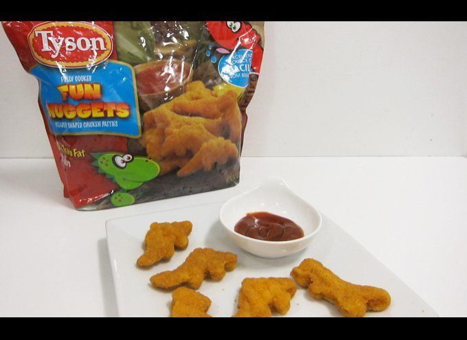 If the dinosaur shape of these chicken nuggets doesn't scare you, perhaps the fact that just five pieces amount to 490 mg of