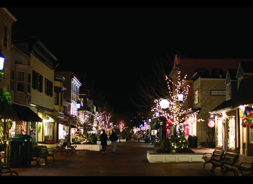 Cape May's pedestrian shopping area is decked out with holiday decorations