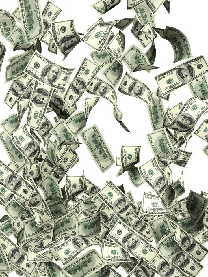 flying dollar banknotes....