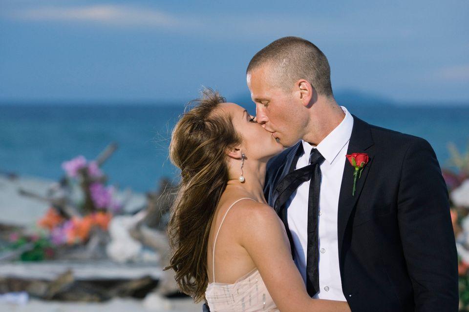 """Ashley Hebert kisses J.P. Rosenbaum on the season finale of """"The Bachelorette"""" in Fiji."""