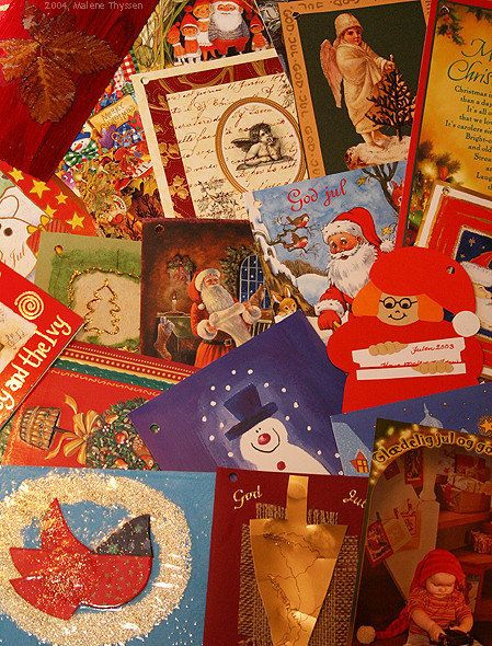 """Christmas cards with angels, scandinavian """"Image:Nisse1.jpg   nisser """", Father Christmas, snow men, hearts and gold. Julekort med engle,  ..."""