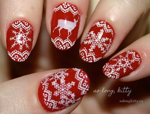 Christmas Nail Art Santa Claus Rudolph The Red Nosed Reindeer And