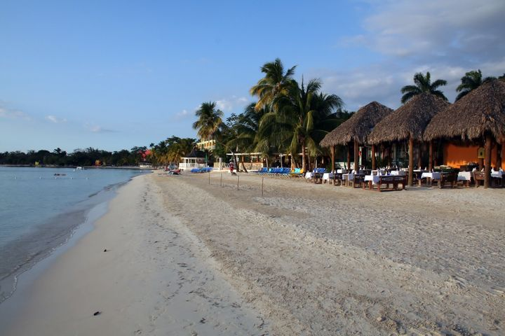 early evening on the beach at a ...