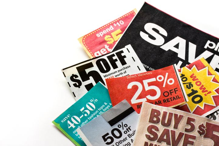 Save money. Colorful coupons on white background.