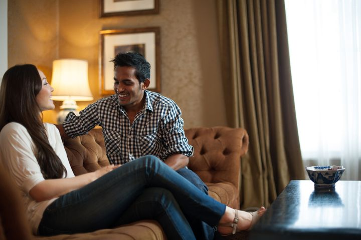 attractive couple in lounge