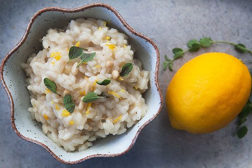 """<strong>Get the <a href=""""http://www.simplyrecipes.com/recipes/meyer_lemon_risotto/"""">Meyer Lemon Risotto recipe from Simply Re"""