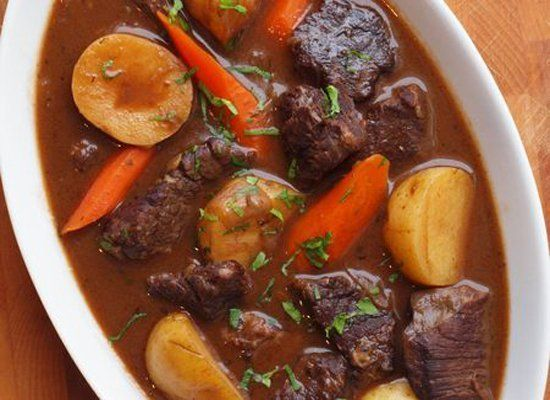 In this classic French beef stew, the meat is seared and then slowly braised with garlic and onions in a wine-based broth.  A