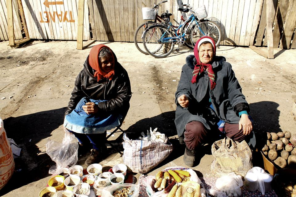 Country women sell produce in Tiraspol, the capital of Transnistria.