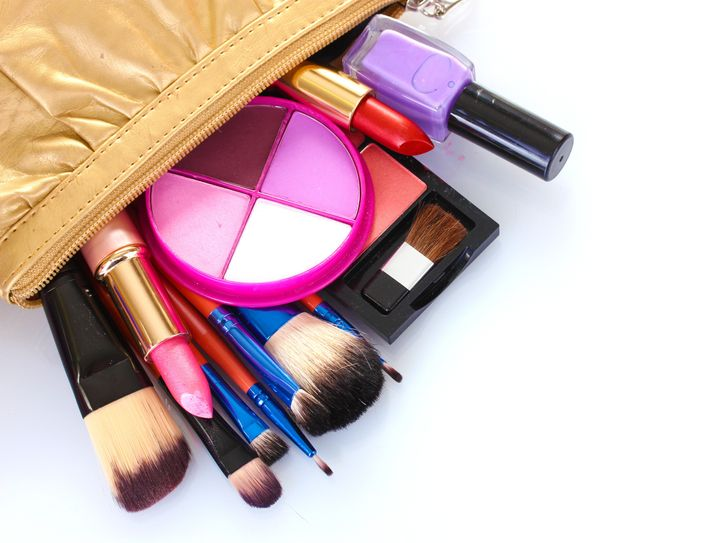 make up bag with cosmetics and...