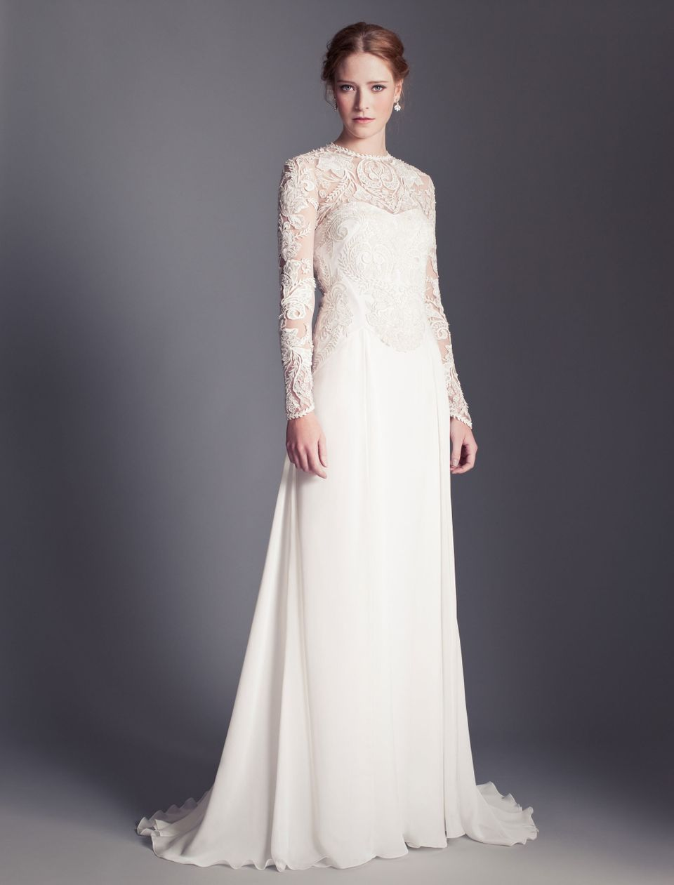 Flora by Temperley London is a tulle and chiffon sheath that features engineered floral stitch work embroidery with hand-cut