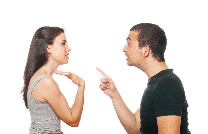 unhappy young couple having an...