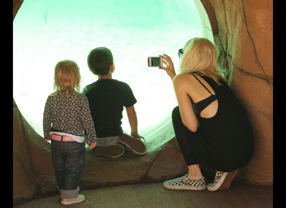 Gwen Stefani takes her boys, Kingston and Zuma, to the London Zoo. (FilmMagic)