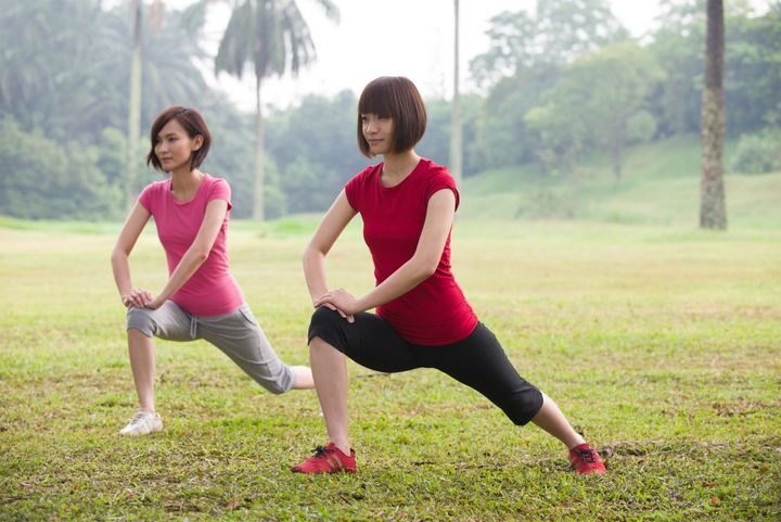asian girls squat streching...