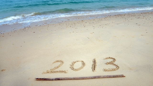 number 2013 on the beach of...