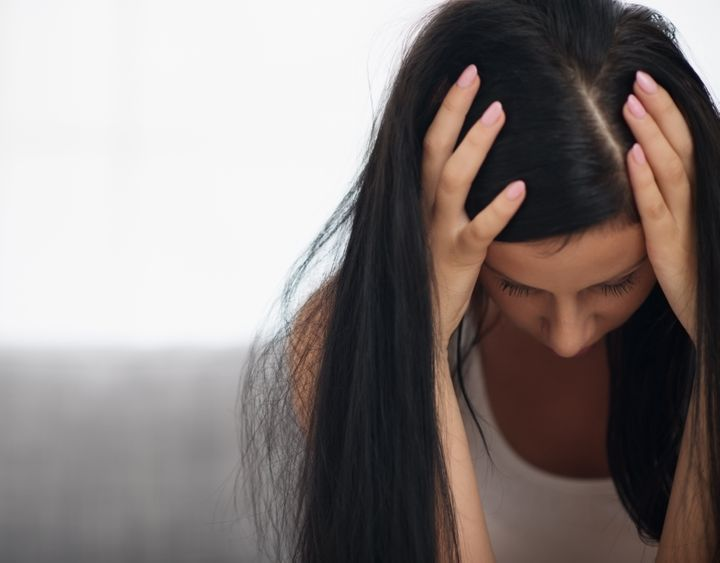 young woman in stress