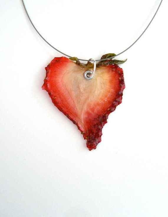 "<em><a href=""http://www.etsy.com/listing/101733876/real-strawberry-necklace-real-fruit"">Real strawberry necklace, $24</a></em"