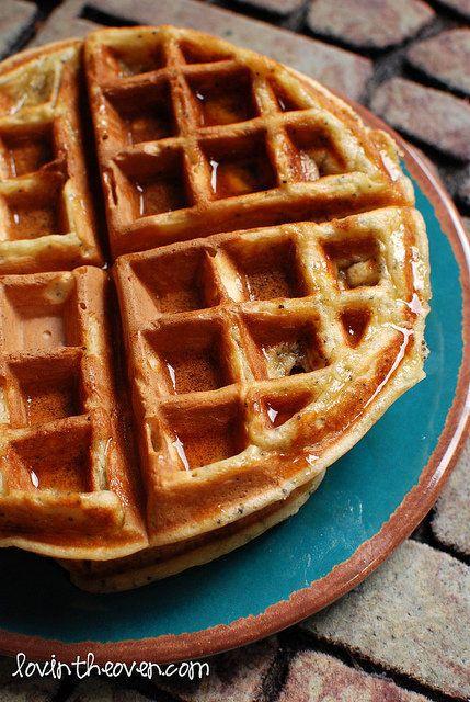 "<strong>Get the <a href=""http://www.lovintheoven.com/2012/08/lemon-poppy-seed-waffles.html"">Lemon Poppy Seed Waffles recipe f"