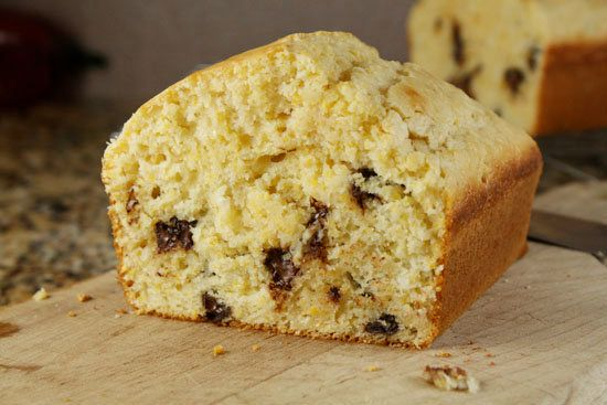 "<strong>Get the <a href=""http://www.macheesmo.com/2010/11/chocolate-chip-cornbread/"">Chocolate Chip Cornbread recipe</a> by M"