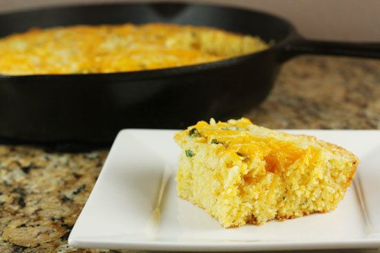 "<strong>Get the <a href=""http://www.macheesmo.com/2011/01/jalapeno-cheddar-cornbread/"">Jalapeno Cheddar Cornbread recipe</a>"