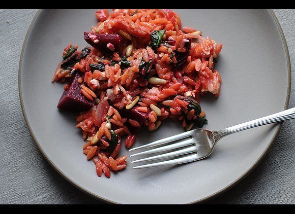 """<em><strong><a href=""""http://food52.com/recipes/7032_warm_orzo_salad_with_beets_greens"""" target=""""_hplink"""">Get the recipe</a></s"""