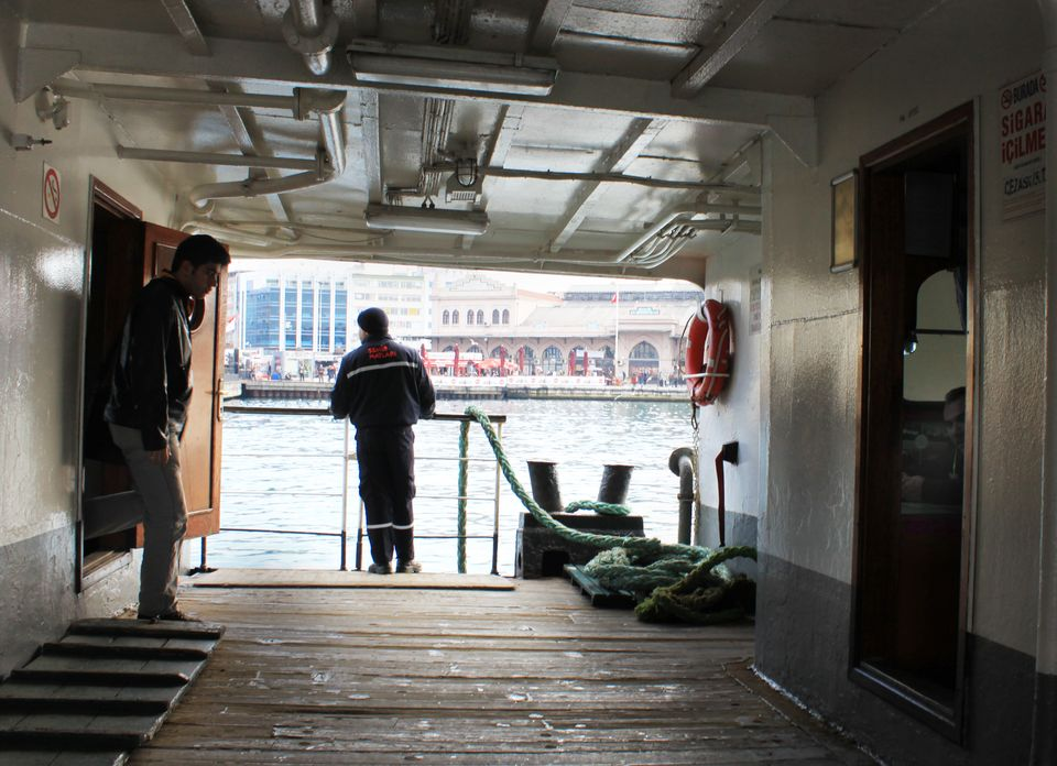 The able bodied seamen aboard Istanbul's ferries seem to spend more time drinking tea and using the onboard computer than doi