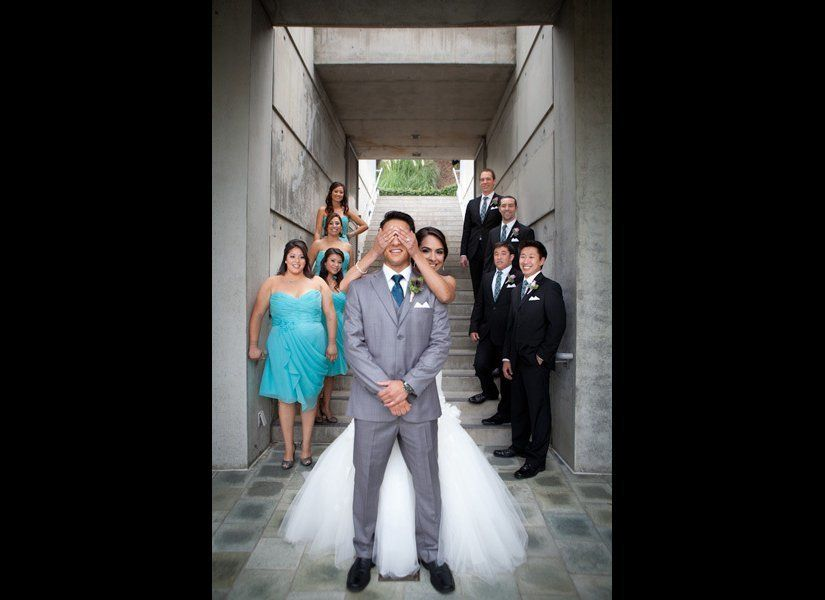 """Stephanie and Kenneth let their bridal party join in on the first look. <strong>Related: <a href=""""http://www.bridalguide.com"""