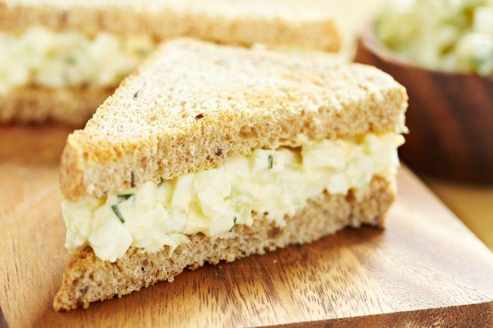 egg salad sandwich with...