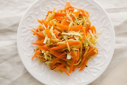 "<strong>Get the <a href=""http://www.simplyrecipes.com/recipes/winter_root_vegetable_slaw/"">Winter Root Vegetable Slaw recipe"