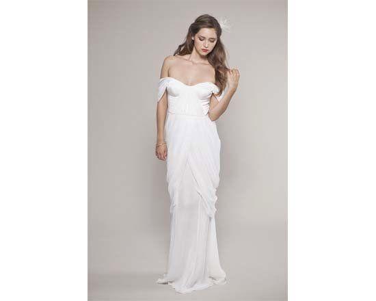 """Gown by <a href=""""http://www.etsy.com/listing/78639566/chiffon-wedding-dress-draping-chiffon"""">Winifred Bean</a>."""