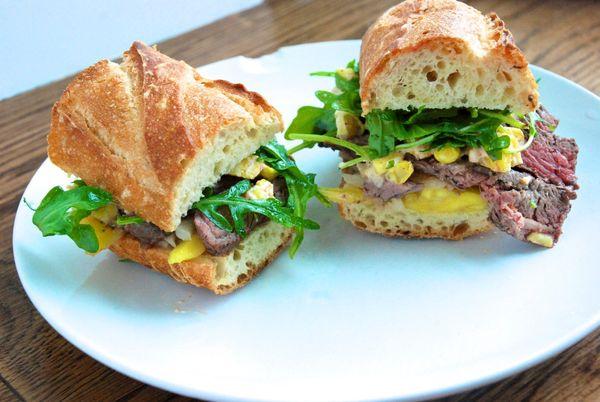 """<strong>Get the <a href=""""http://food52.com/recipes/17422-mango-steak-sandwich"""" target=""""_blank"""">Mango Steak Sandwich recipe</a"""