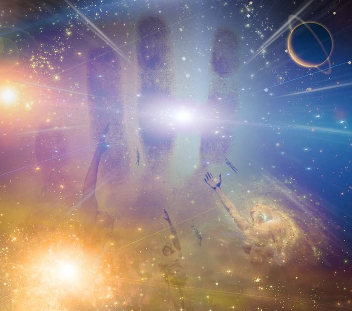 people soaring toward light...