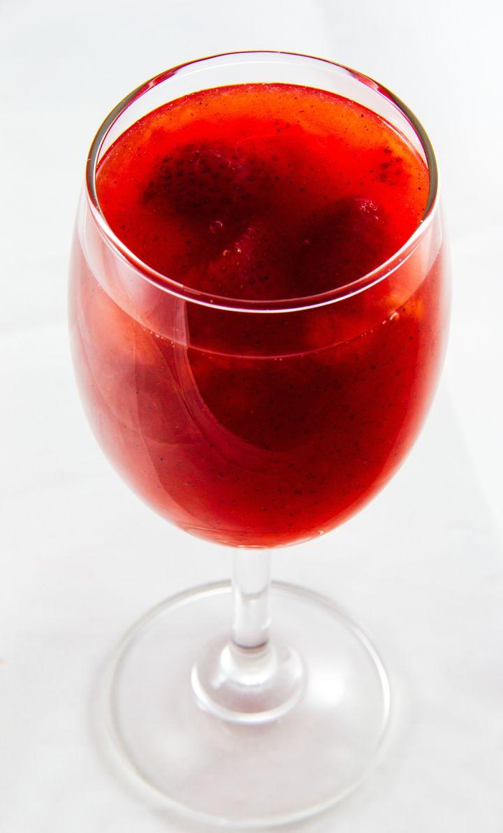 close up strawberry juice...