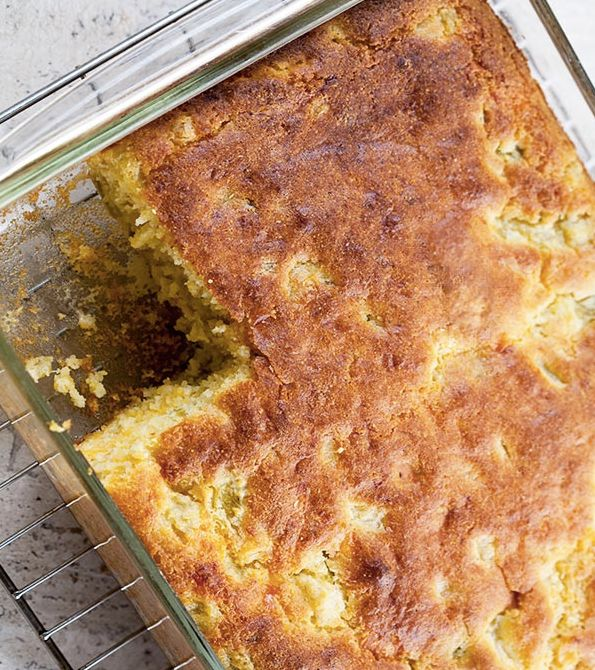 """<strong>Get the <a href=""""http://www.simplyrecipes.com/recipes/green_chile_cornbread/"""">Green Chile Cornbread recipe</a> from S"""