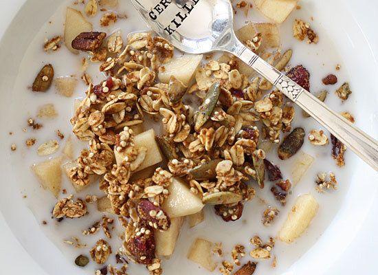 """<strong>Get the <a href=""""http://www.skinnytaste.com/2012/09/easy-pumpkin-spiced-granola.html"""">Skinny Pumpkin Granola recipe</"""