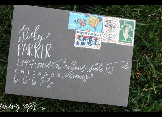 """Set the tone from the beginning with a gorgeous, hand-lettered invite.<br><a href=""""http://lover.ly/search?e=0&q=calligraphy&u"""