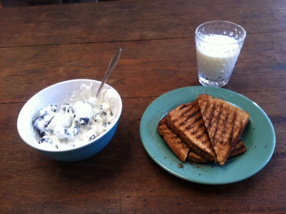 <strong>What I Ate: </strong>1 cup Greek yogurt, 1 cup blueberries, 1 cup milk, 2 slides whole wheat toast  <strong>What That